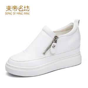 东帝名坊新款单鞋 坡跟厚底小白鞋圆头休闲鞋韩版