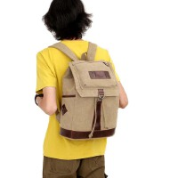 双肩包书包简约纯色学生背包休闲中学生包帆布双肩包休闲旅行包