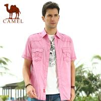 CAMEL 骆驼男装 夏装新款男士纯棉水洗直筒短衬衣