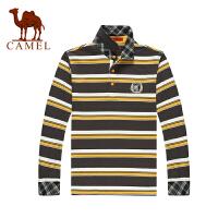 Camel骆驼 男装 新款 秋装 男士条纹直筒T恤 纯棉t恤衫 长袖T恤