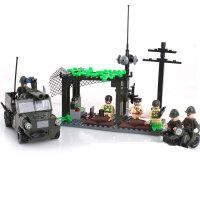启蒙 益智积木拼插玩具 拼装玩具 拼插模型 野战阵地战车模型809