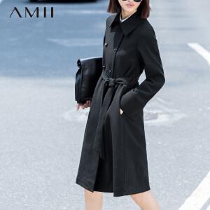 【AMII超级大牌日】[极简主义]2017年春新纯色翻领双排扣腰带修身大A型大码风衣女