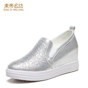 东帝名坊新款水钻圆头时尚松紧带厚底一脚蹬乐福鞋