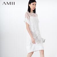 【AMII超级大牌日】[极简主义]2016新圆领提花欧根纱撞料拼接微茧型连衣裙2色11570435