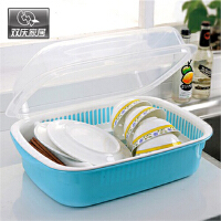 双庆 1061 厨房沥水篮碗碟架厨房餐具收纳架多功能沥水碗碟置物架 蓝  粉 两色