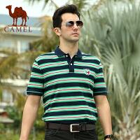 CAMEL 骆驼男装 夏装新款男士圆领棉T恤 直筒休闲男士短袖T恤衫