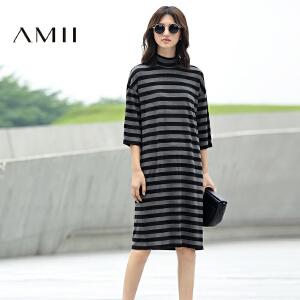 【AMII超级大牌日】[极简主义]2017年春新女大码休闲条纹落肩袖弹性连衣裙11681965
