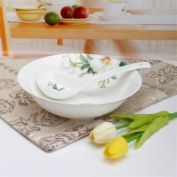 [当当自营]SKYTOP斯凯绨 陶瓷高档骨瓷餐具 如花似玉9英寸汤碗+大条羹