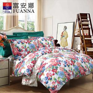 [当当自营]富安娜家纺纯棉四件套1.5米1.8米床印花套件 倾城之魅 米色 1.8m