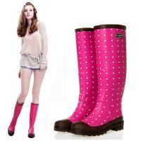 女士雨靴高筒水靴套鞋水鞋优质环保全橡胶玫红小圆点雨靴