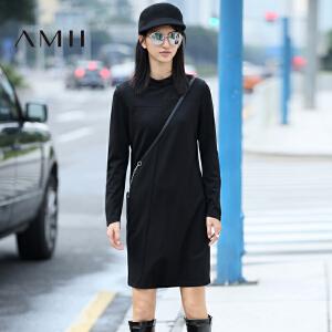 【AMII超级大牌日】[极简主义]2017年春新款纯色高领长袖大码休闲连衣裙女11642163