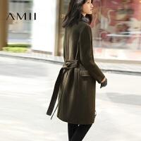 【AMII超级大牌日】[极简主义]2016冬装羊毛修身纯色加厚毛呢子外套女中长款大衣