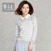 红莲 秋冬新品韩版POLO领羊绒衫女套头长袖条纹打底毛衣