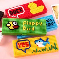 韩国创意乐高积木卡通韩国可爱多功能文具盒 男女小学生铅笔盒