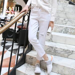 【AMII超级大牌日】[极简主义]2017年春新纯色做旧磨烂百搭大码九分牛仔裤11673315