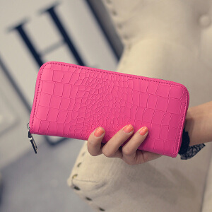 芭特莉【支持礼品卡支付】新款时尚压花石头纹拉链钱包QJZ#QE-006