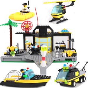 橙爱 启蒙玩具 消防中心模型海岸拯救所 乐高式警察搜救系列拼装积木塑料拼插益智儿童玩具男孩礼物