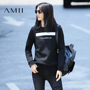 【AMII超级大牌日】[极简主义]2017年春款圆领百搭字母印花学生长袖卫衣女11643314