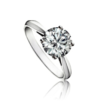 梦克拉  白18K金钻石戒指  依恋  40分钻石结婚求婚女款婚戒结婚钻石戒指 创意礼品