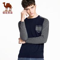 骆驼男装 新款 男士套头针织衫 男款修身毛衣 时尚圆领毛衣