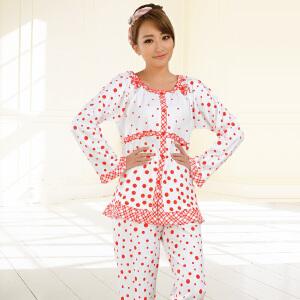 金丰田女士春秋长袖圆点睡衣家居服套装1523
