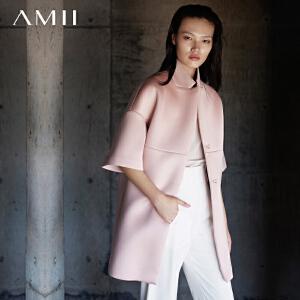 【AMII超级大牌日】[极简主义]2017新秋冬女宽松大码直筒落肩开襟中袖西装外套