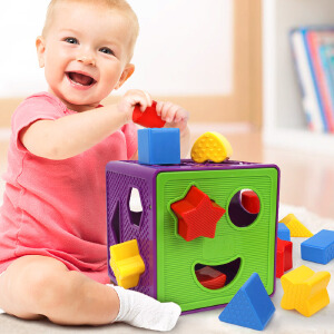 橙爱 潜力 几何形状认知盒 塑料配对积木儿童智力盒12个月-2岁宝宝益智玩具