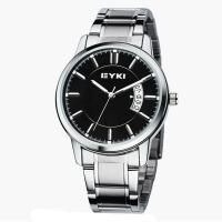艾奇(EYKI)商务休闲情侣手表 时尚日历复古钢带石英手表 简约表盘男士手表 8616