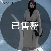 【AMII超级大牌日】[极简主义]2016秋冬新V领修身高腰线大码毛呢外套女11571752