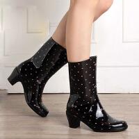 女士雨靴雨鞋时尚水鞋水靴套鞋中高筒高跟保暖棉女式雨鞋