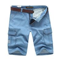 战地吉普AFS JEEP男士牛仔短裤 夏装薄款男直筒宽松大码牛仔裤 男装休闲裤