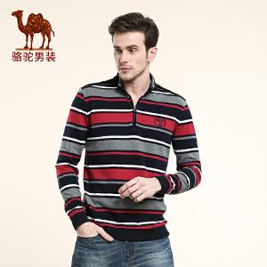 Camel骆驼男装 新款T恤 男士长袖休闲T恤 条纹门筒领T恤