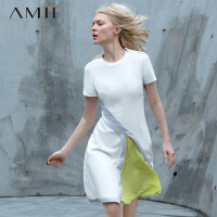 【AMII超级大牌日】[极简主义]2016夏圣马丁学院定制撞料拼色短袖连衣裙11682259