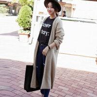新款女装毛衣外套宽松纯色中长宽松韩版女式针织开衫毛衣外套