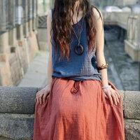 夏季宽松长款竹节棉麻纯色大码亚麻棉麻半身长裙
