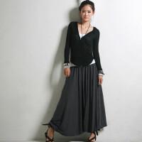2016 潮流显瘦大摆长裙女士半裙 女装半裙不规则 黑色半裙纯色