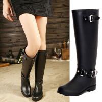 女士雨靴高筒防滑雨靴朋克风女长筒雨靴水鞋骑士马靴拉链水靴