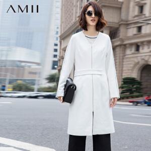 【AMII超级大牌日】[极简主义]2017年春新V领拉链假腰带拼接外套11591937