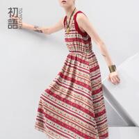 初语 冬装新款波西米亚风印花显瘦背心连衣裙 8422442096