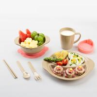 当当优品 壳氏唯稻壳环保儿童餐具套装 筷叉勺水杯进口宝宝婴儿吸盘碗 2(粉红)