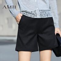 【AMII超级大牌日】[极简主义]2016秋冬新款直筒织带大码修身休闲短裤女11633551
