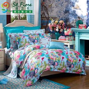 [当当自营]富安娜家纺纯棉四件套1.5米1.8米床印花套件 神秘庄园 蓝色 1.5m
