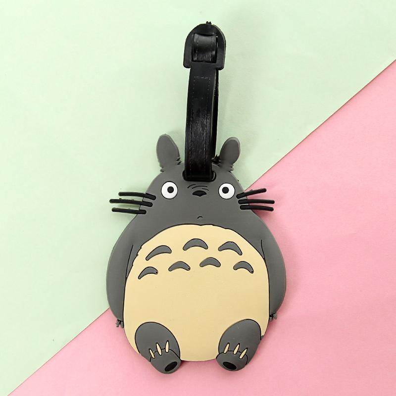 韩国时尚可爱创意卡通硅胶行李牌 萌物旅行箱吊牌 行李箱托运牌_龙猫