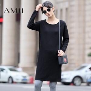 【AMII超级大牌日】[极简主义]2017年春新款宽松纯色圆领套头长袖连衣裙女11682452