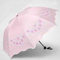 包邮!天堂伞 全遮光碰击黑胶遮阳伞三折晴雨伞清新公主伞UPF50+