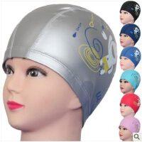 儿童游泳帽长发防水护耳 PU帽涂层硅胶泳帽 男士女童帽