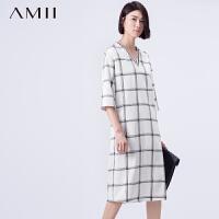【AMII超级大牌日】[极简主义]2016秋条纹V领七分袖雪纺格纹大码连衣裙11591568