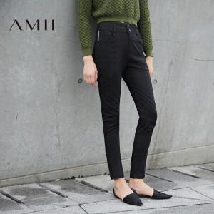 【AMII超级大牌日】[极简主义]2017年春新品修身百搭黑色铅笔裤休闲长裤女11642383