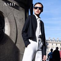【AMII超级大牌日】[极简主义]2016冬开襟短款夹克大码毛呢外套11571905