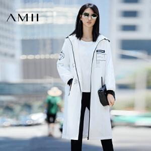 【AMII超级大牌日】[极简主义]2017年春新款连帽印花休闲宽松中长款风衣女11673256